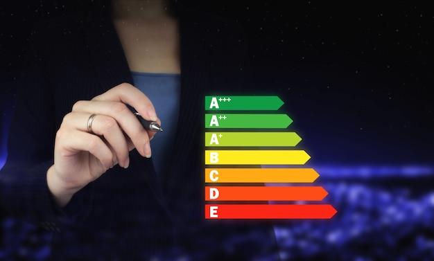Energie-efficiëntieconcept. hand met digitale grafische pen en tekenen van digitale hologram energie-efficiëntie teken op de donkere onscherpe achtergrond van de stad. goede energiegrafiek.