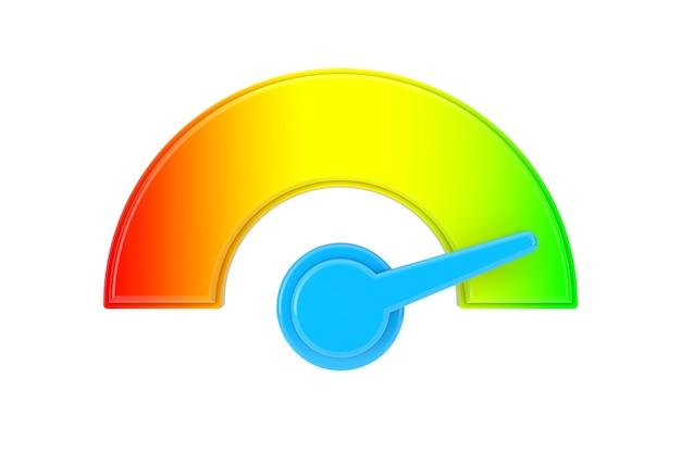 Energie- of brandstofniveaumeter dial gage-pictogram op een witte achtergrond. 3d-rendering