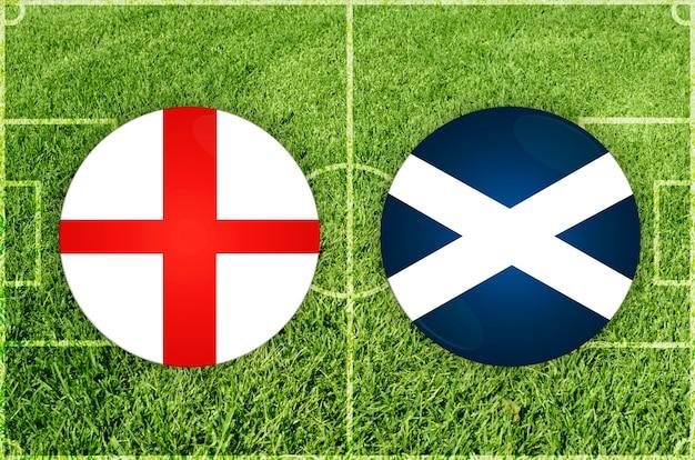 Engeland vs schotland voetbalwedstrijd