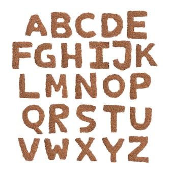 Engels alfabet van bruin droog boekweit op een geïsoleerd wit