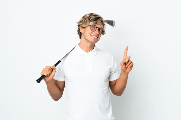 Engelse man golfen tonen en het opheffen van een vinger in teken van het beste