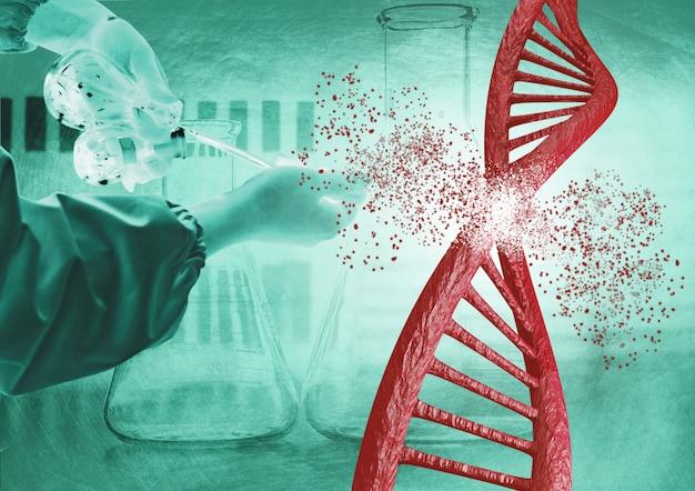 Engineering en genetische bewerking via de crispr-techniek. dna-ketting afbreken
