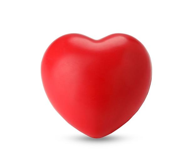 Enig rood hart dat op wit wordt geïsoleerd