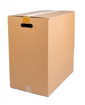 Enkele kartonnen verhuisdoos geïsoleerd