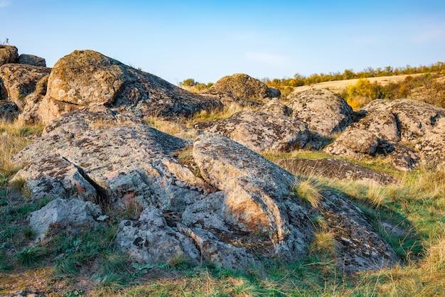 Enorme afzettingen van oude steenmineralen bedekt met vegetatie in een weiland vol warme zon in oekraïne en zijn prachtige natuur
