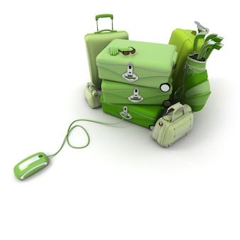 Enorme groene bagage inclusief koffers, aktetassen, golftas, aangesloten op een computermuis.