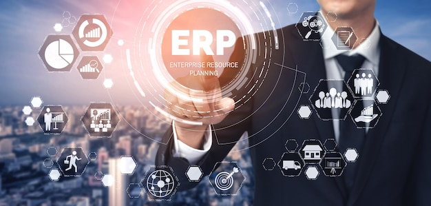 Enterprise resource management erp-softwaresysteem voor bedrijfsmiddelenplan