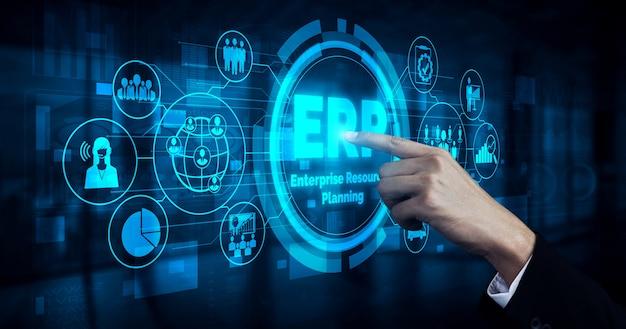 Enterprise resource management erp-softwaresysteem voor bedrijfsmiddelenplan