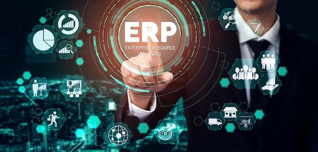Enterprise resource management erp-softwaresysteem voor plan voor bedrijfsresources
