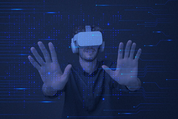 Entertainment technologie vr achtergrond in blauwe circuitlijnen geremixte media