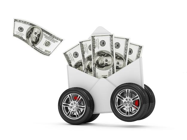 Envelop met dollarbiljetten op wielen geïsoleerd