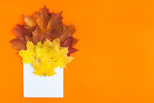 Envelop met gedroogde heldere herfstbladeren op oranje tafel