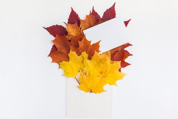 Envelop met gedroogde heldere herfstbladeren op witte tafel