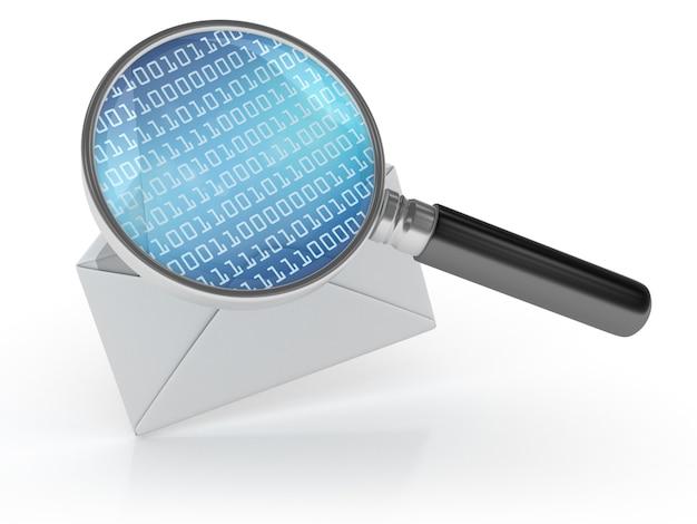 Envelopbrief met binaire code en vergrootglas