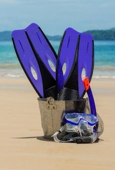 Equiment voor snorkel strand achtergrond
