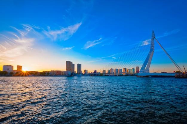 Erasmusbrug bij zonsondergang, rotterdam, nederland