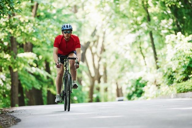 Ergens naar uitkijken. fietser op een fiets is op de asfaltweg in het bos op zonnige dag
