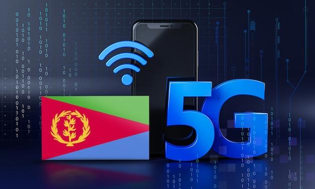 Eritrea klaar voor 5g-verbindingsconcept. 3d-rendering smartphone technische achtergrond