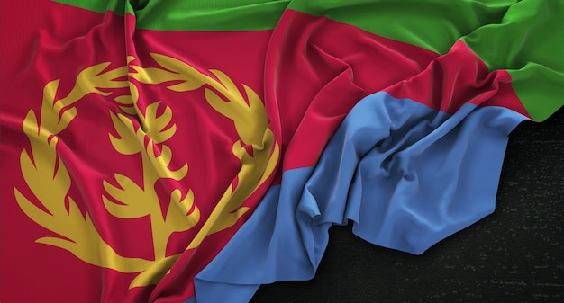 Eritrea vlag gerimpelde op donkere achtergrond 3d render