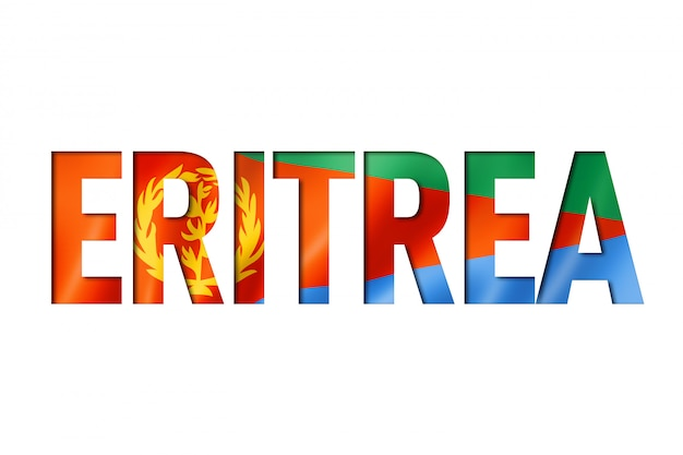 Eritrea vlagtitel op witte achtergrond