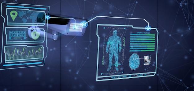 Erkenning en opsporingssoftware op een veiligheidscamerasysteem - het 3d teruggeven