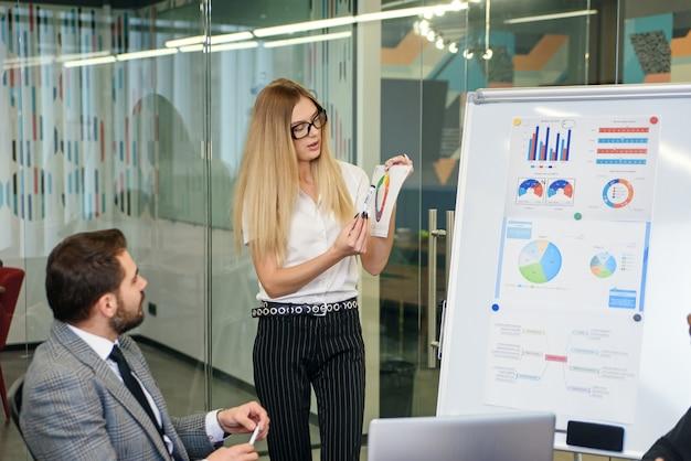 Ervaren zakenvrouw die lezingen geeft aan multi-etnische hoogopgeleide zakenmensen die zich verzamelden aan de vergadertafel in de vergaderruimte op kantoor.