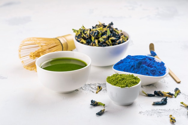 Erwten botervet, groene matcha-thee