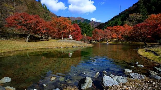 Esdoorn herfstbladeren seizoen en toerist kimono dragen zit op een houten tafel in het rivierpark