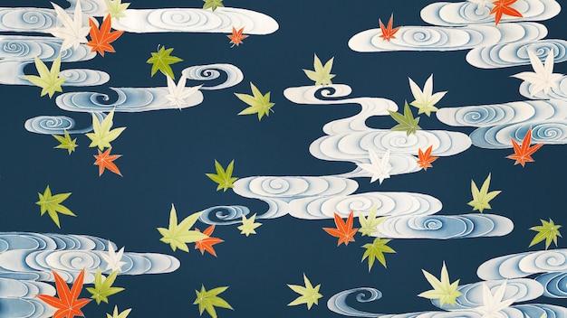 Esdoornbladeren met wervelingenachtergrond