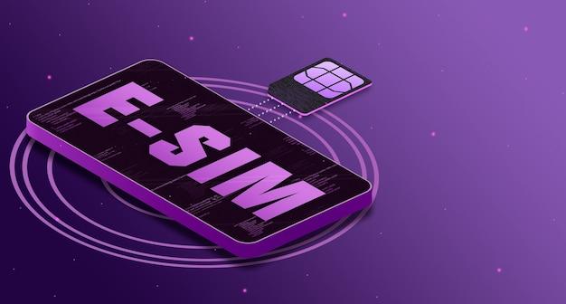 Esim-kaartchip voegt zich bij de technologietelefoon met het label esim op het scherm, 5g-technologie 3d