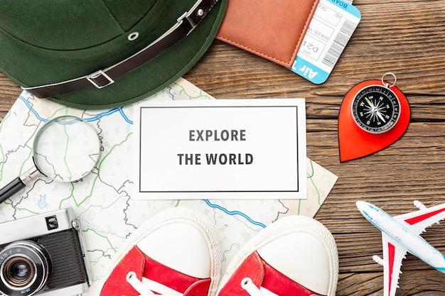 Essentials voor reiskit van bovenaanzicht