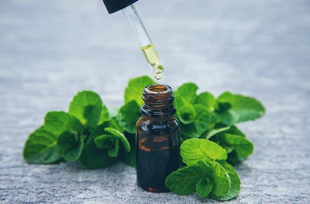 Essentiële olie van pepermunt in een klein flesje