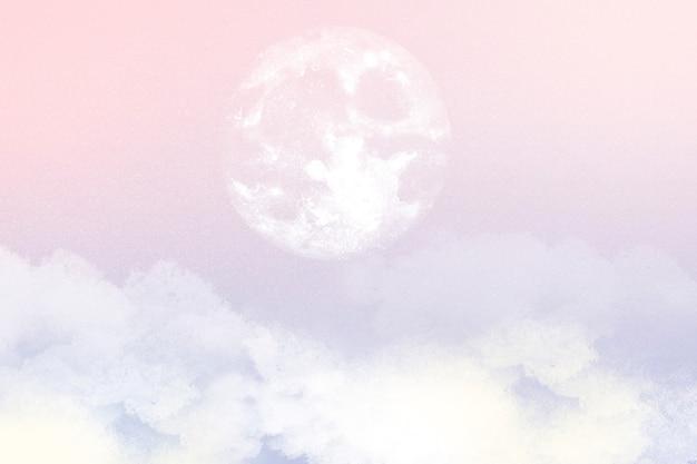 Esthetische hemelachtergrond met maan en wolken in roze