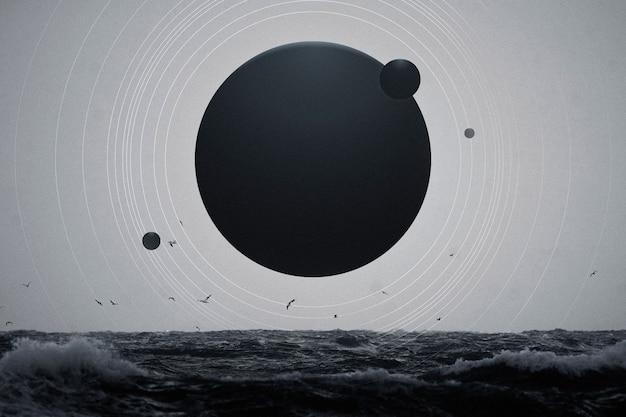 Esthetische planeet oceaan achtergrond melkweg en natuur remix