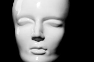 Etalagepop close-up, gezicht