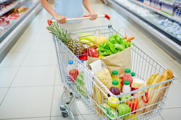 Eten in winkelwagen