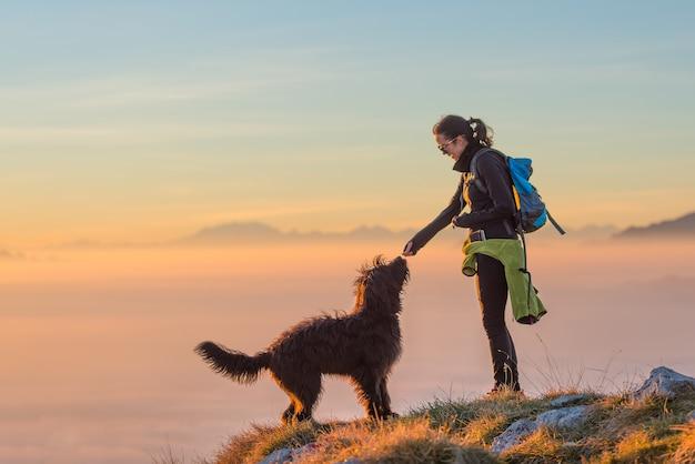 Eten voor de hond van een meisje tijdens een excursie in de bergen