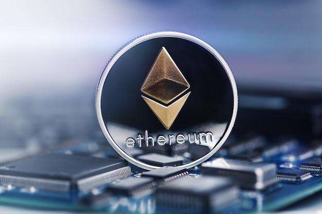 Ethereum cryptovaluta op het moederbord