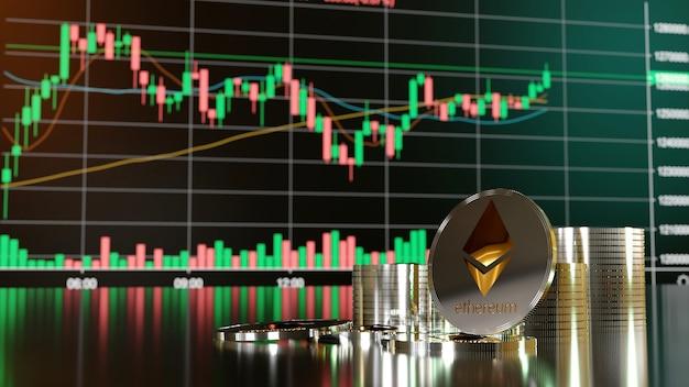Ethereum en cryptocurrency-investeringsconcept. 3d-weergave.