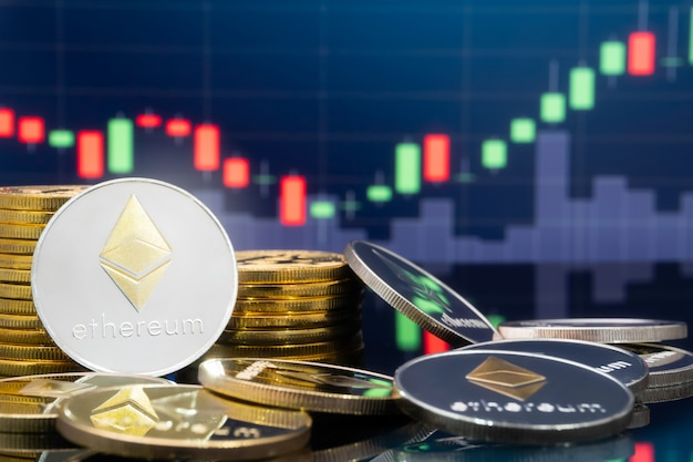 Ethereum en cryptocurrency-investeringsconcept.