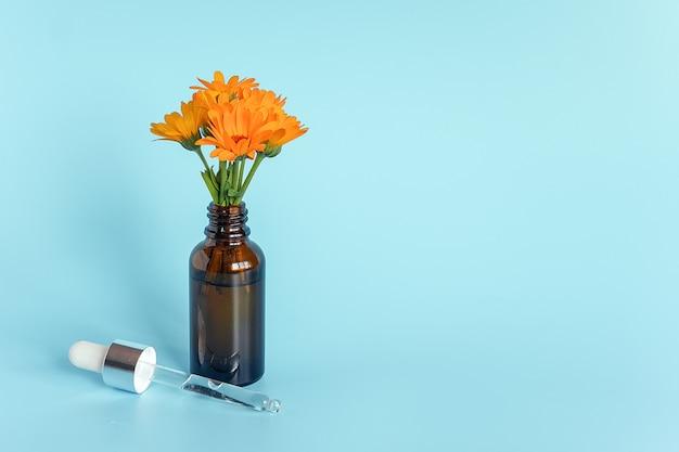 Etherische olie in open bruine druppelaarfles met liggende glaspipet en oranje bloemcalendula op blauwe achtergrond.