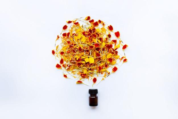Etherische olie van goudsbloembloem op wit