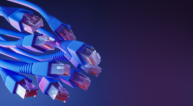 Ethernet-kabels met neonlicht