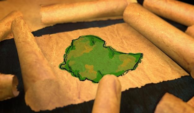 Ethiopië kaart schilderen uitvouwen oude document scroll 3d