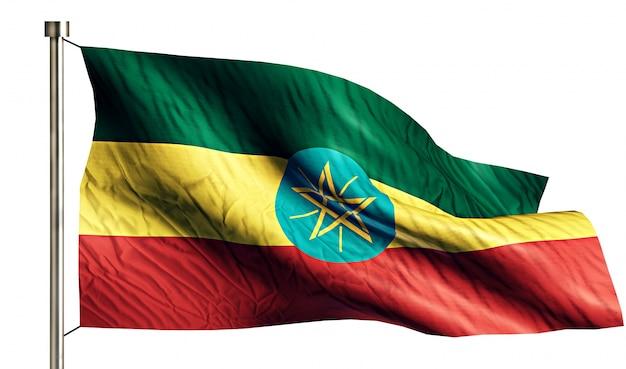 Ethiopië nationale vlag geïsoleerde 3d witte achtergrond