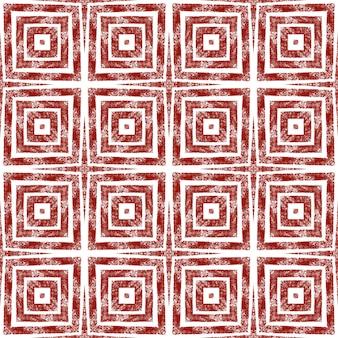 Etnische handgeschilderde patroon. wijn rode symmetrische caleidoscoop achtergrond. textiel klaar coole print, badmode stof, behang, inwikkeling. zomerjurk etnische handgeschilderde tegel.