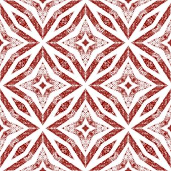 Etnische handgeschilderde patroon. wijn rode symmetrische caleidoscoop achtergrond. textiel klaar levendige print, badmode stof, behang, inwikkeling. zomerjurk etnische handgeschilderde tegel.