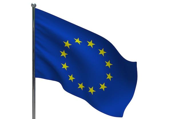 Eu-vlag op paal. metalen vlaggenmast. europa vlag 3d illustratie op wit