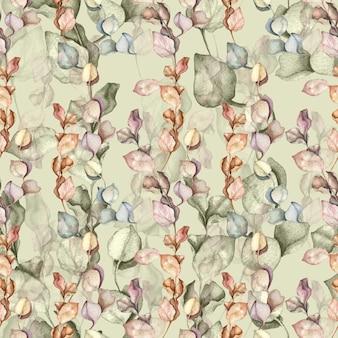 Eucalyptus takken en laat aquarel hand getrokken illustratie. naadloze vintage bloemmotief.
