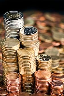 Euro munt munten kolommen